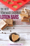Pinterest image with text- hot chocolate lotion bars scattered around with chocolate chips and one silicone mold