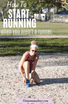 Pinterest image with text: woman in a white headback and colored running clothes kneeling in the sand to tie her blue running shoes