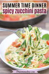 Pinterest image with text: zucchini noodle pasta in a white bowl with some twirled on a form and a pan with more pasta in the background