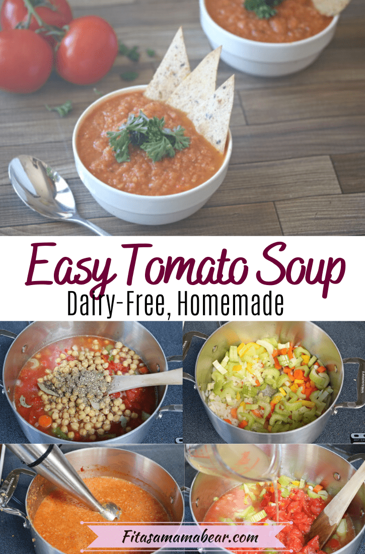 Pinterest image with text: tomato soup in a white bowl with parsley and tortillas with tomatoes behind it and multiple collage images of the tomato soup being made below it
