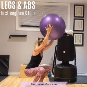 Featured image with text: woman in black shirt and bright pants in a gym doing a squat with a stability ball over her head with text about a legs and abs workout at home