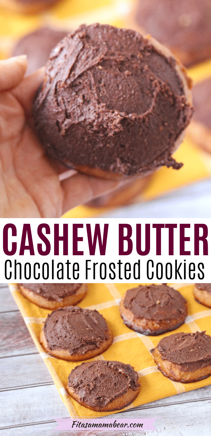 Pinterest image with text: two images of cashew butter cookies the first a close up being held in a hand and topped with chocolate the second the cookies are lined on a yellow napkin