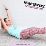 Featured image with text: woman in green shirt and orange pants performing an ab exercise that is better for your back than sit ups