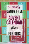 Featured image with text: red and green wooden advent calendar close up with text about advent calendar fillers