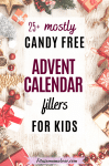 Pinterest image with text: multiple red and white wrapped presents and christmas bells around the outside of the frame with text about advent calendar fillers
