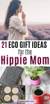 Pinterest image with text: woman in long sleeve white baggy shirt looking over a flower field. picture below her of eco-friendly gift ideas
