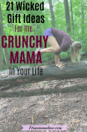 Pinterst image with text: woman in purple shirt and blue shorts performing a yoga pose on a fallen tree with text about eco-friendly gift ideas