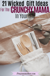 Pinterest image with text: eco-friendly utensils on parchment wrapping paper with a small plant beside them and text about eco-friendly gift ideas