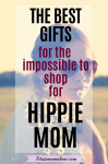Pinterest image with text: woman with heart shaped sunglasses and flowers around her neck looking at the camera, a large text box over top about eco-friendly gift ideas