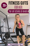 Pinterest image with text: woman in black shorts and a leopard sports bra in the gym holding a pink shaker cup with text about fitness gift ideas