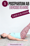 Pinterest image with text: a woman lying on her back in a green shirt and bright pants performing an ab exercise