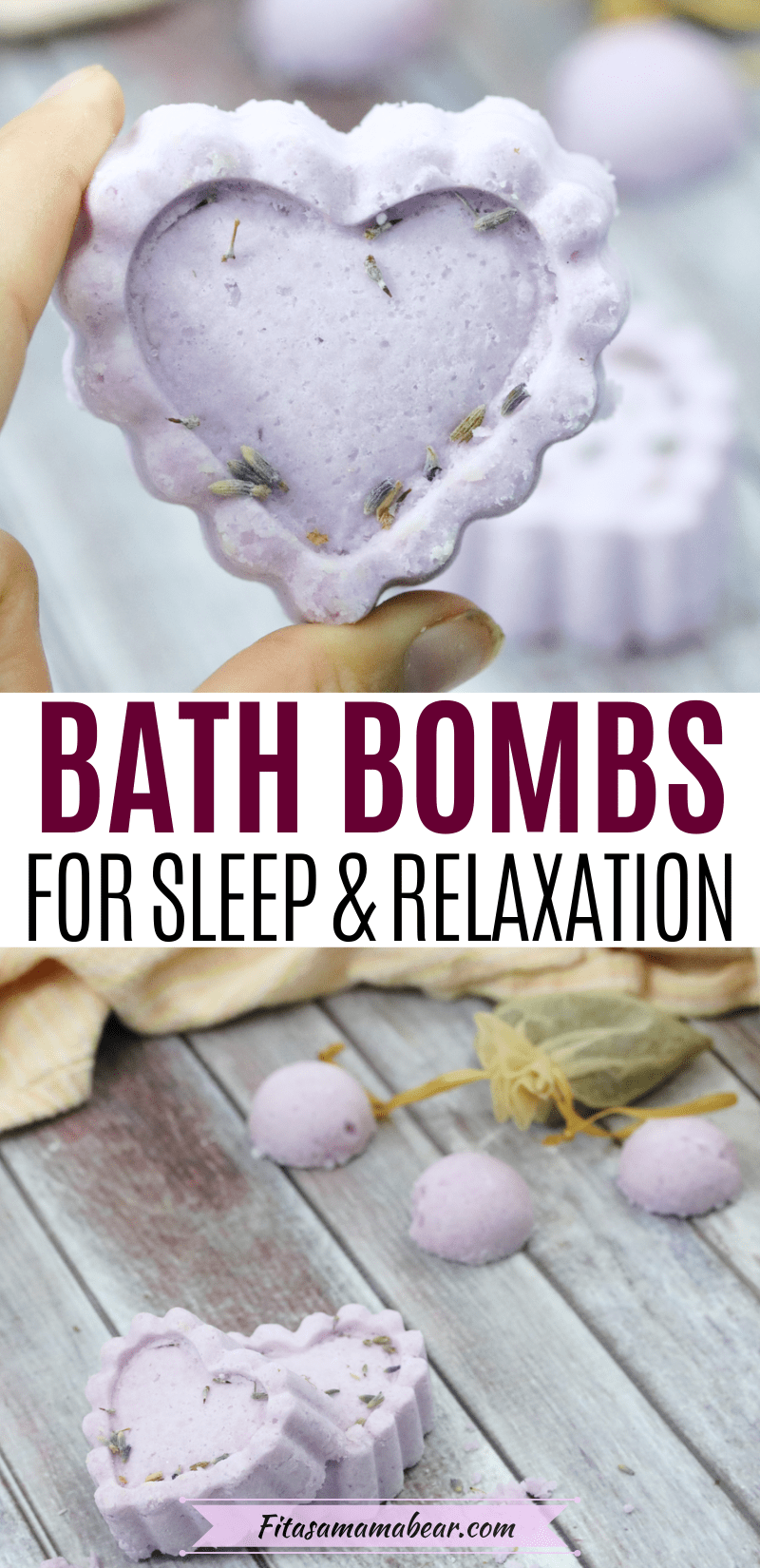 Pinterest image with text: two images the top of a sleepy time bath bomb up close and the bottom of multiple heart shaped bath bombs
