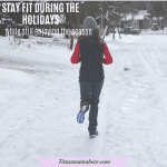 Featured image with text: woman in dark pants, a vest and a bright long sleeve shirt running in the winter