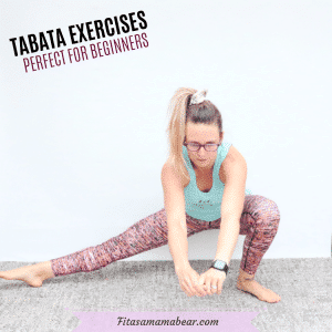 Featured image with text: a woman in a green shirt and orange pants performing a bodyweight tabata exercise for beginners