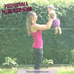 Featured image with text: woman in tights and pink shirt outside holding up a baby