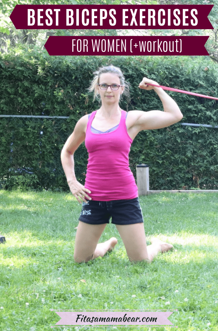 Pinterest image: woman in pink shirt and black shorts performing a resistance band bicep curl with text about the best bicep exercises