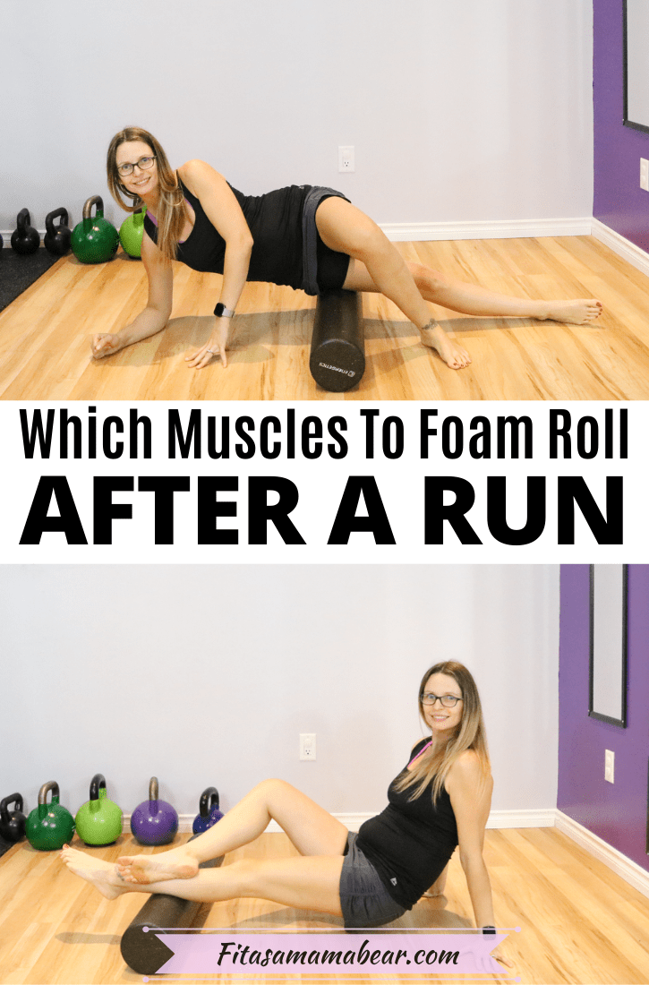 Pinterest image with text: two images of a woman in black shirt and grey skirt foam rolling in the gym with text about how to foam roll