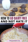 Pinterest image with text: two images, the top of chocolate cookies and milk and the bottom of creamy noodles in a pan