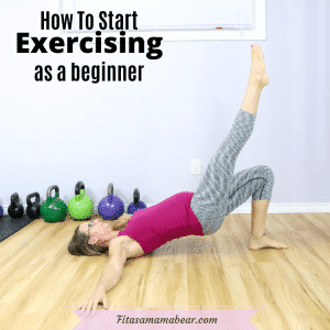 Featured image with text: woman in pink shirt and striped pants performing a glute bridge on the floor with text about working out as a beginner