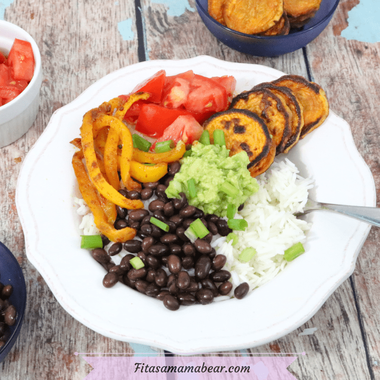 Featured image: sweet potato and black bean vegan burrito bowl in a white bowl with ingredients behind it and a yellow napkin beside the bowl