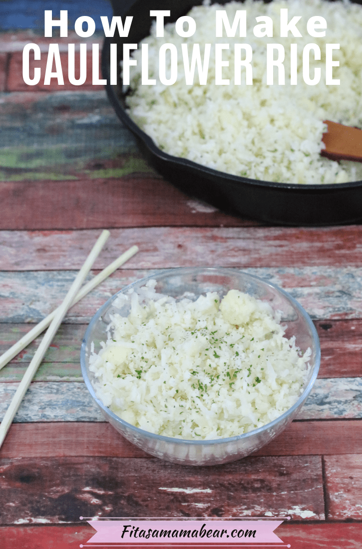 Pinterest image with text: glass bowl with vegan cauliflower rice and chopsticks on the side with more cauliflower rice in a pan with a wooden spoon behind it
