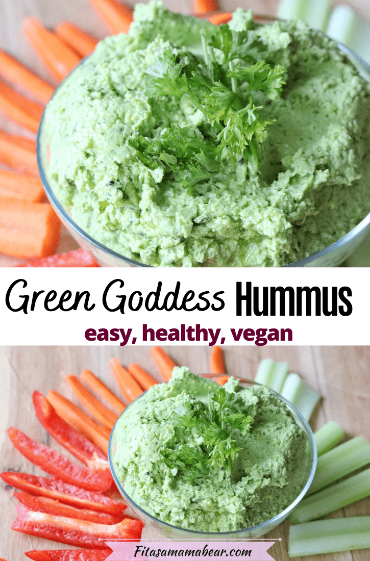Pinterest image with text: two images ofgreen goddess hummus in a glass bowl with peppers, carrots and celery sliced around it