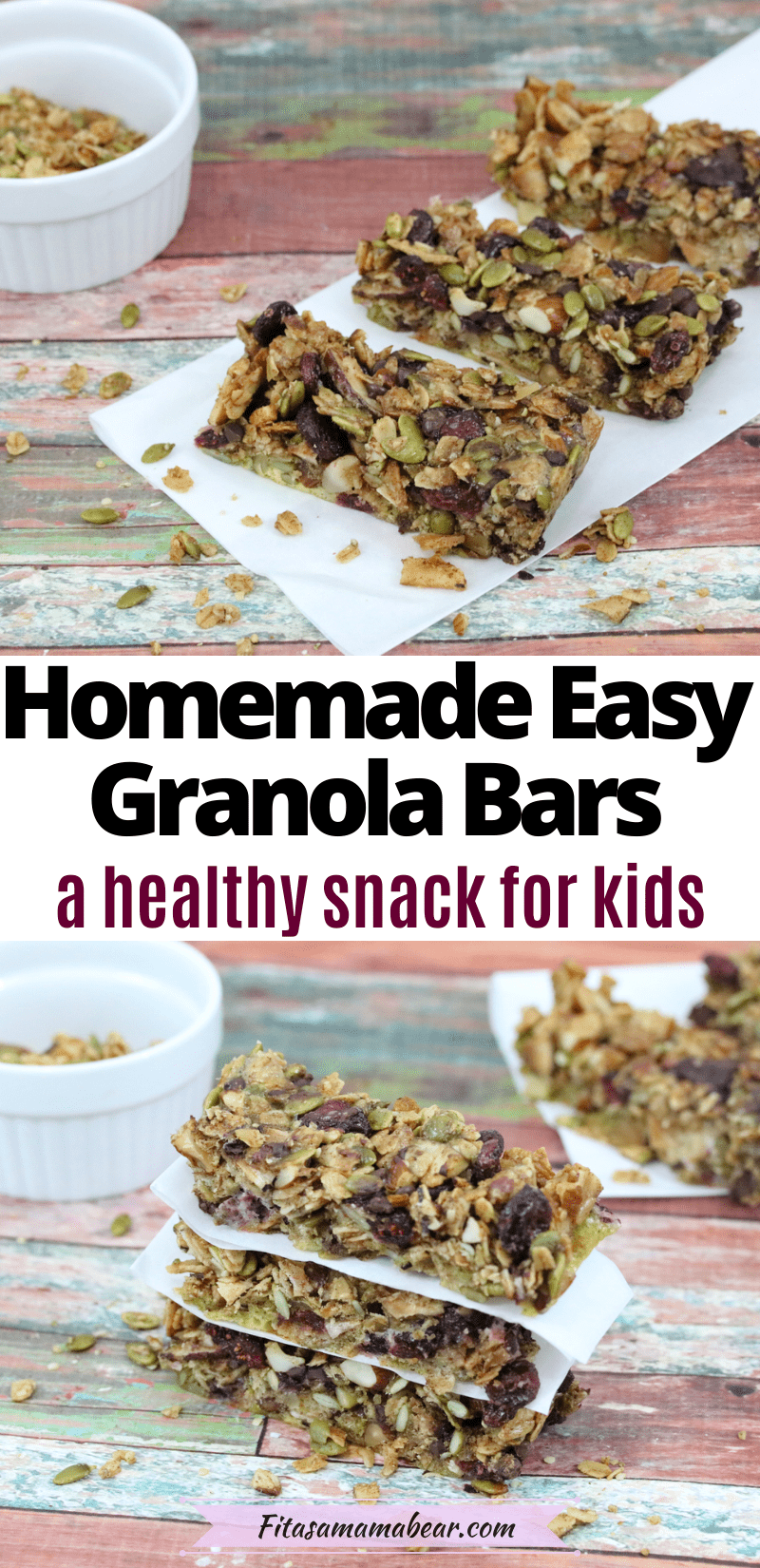 Pinterest image with text: two images of homemade chewy granola bars, the top of the bars lined up on parchment paper and the bottom of the granola bars stacked