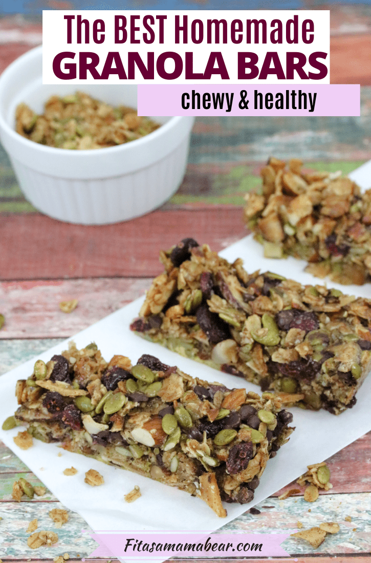 Pinterest image with text: three homemade granola bars lined up in parchment paper