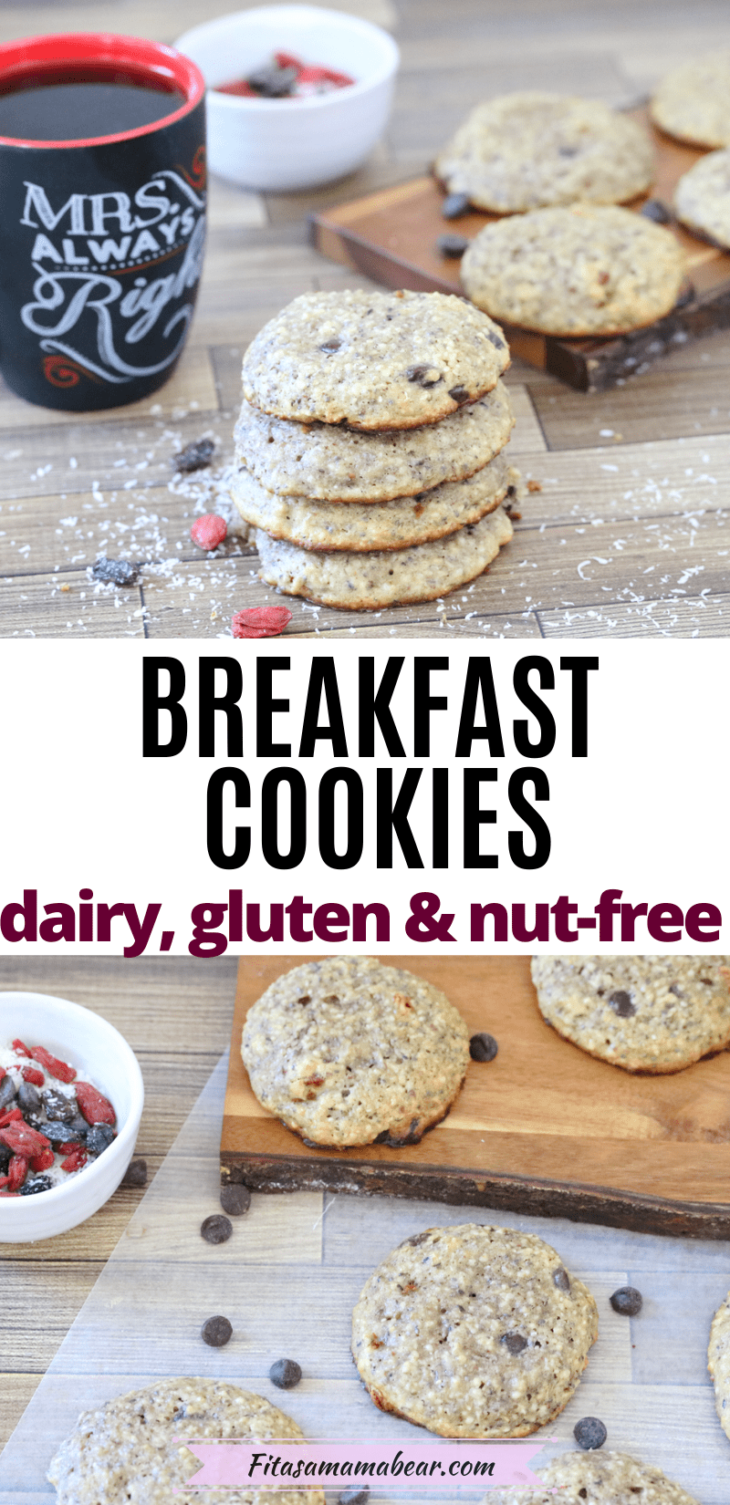 Pinterest image with text: two images of nut-free breakfast cookies the top of cookies stacked with coffee and the bottom with cookies on parchment paper