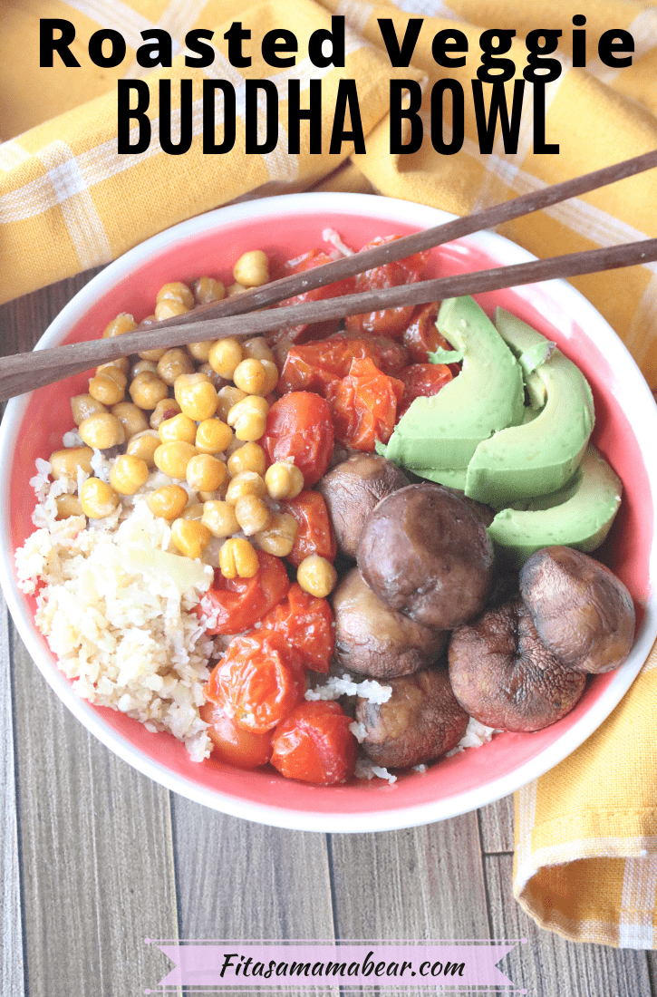 Pinterest image with text: roasted vegetables, chickpeas and avocados on top of cauliflower rice as a Buddha bowl with chopsticks set along the bowl and a yellow linen