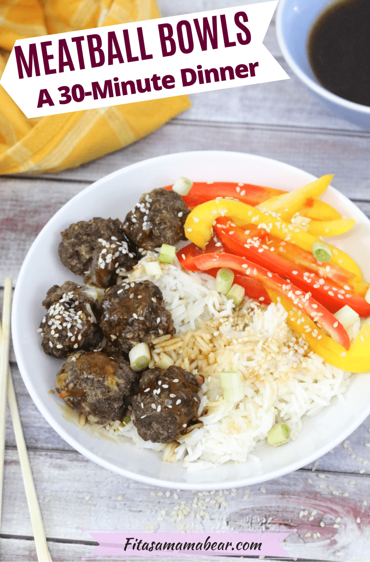 Pinterest image with text: teriyaki meatballs on rice with bell peppers with chopsticks on the side of the bowl and teriyaki sauce and a linen behind it
