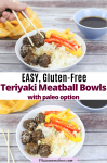 Pinterest image with text: two images of teriyaki meatballs in a white bowl with rice and peppers, the top images has chopsticks grabbing a meatball