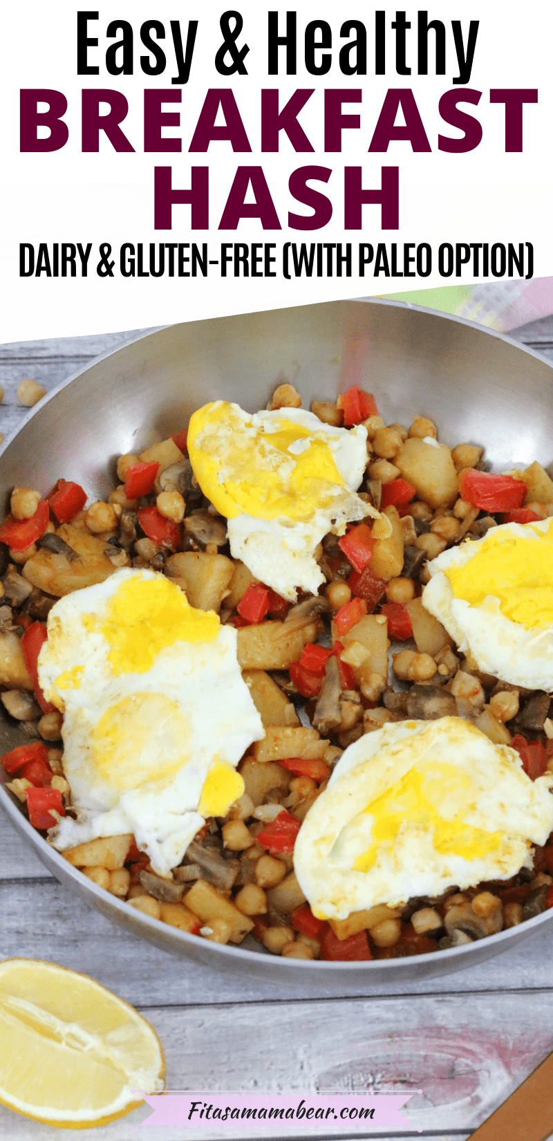 Pinterest image with text: healthy breakfast has in a stainless steel pan topped with eggs and a wooden spoon and lemon beside the pan