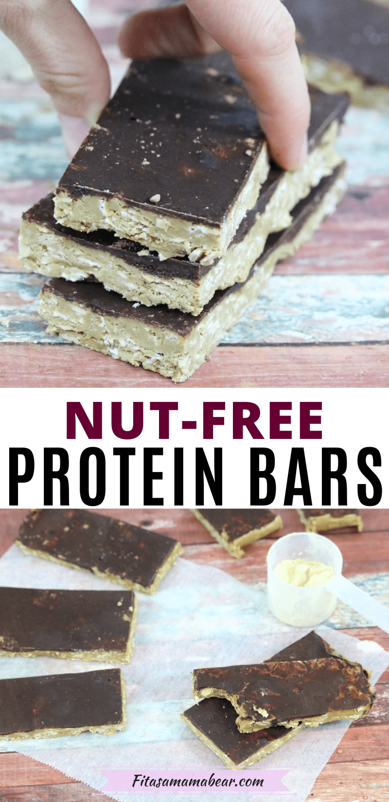 Pinterest image with text: two images of nut-free protein bars with chocolate on top, the top image of bars being stacked and the bottom of them spread out