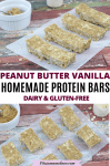 Pinterest image with text: two images of peanut butter protein bars in rectangles on parchment paper with a ramekin of peanut butter and a scoop of protein powder around them