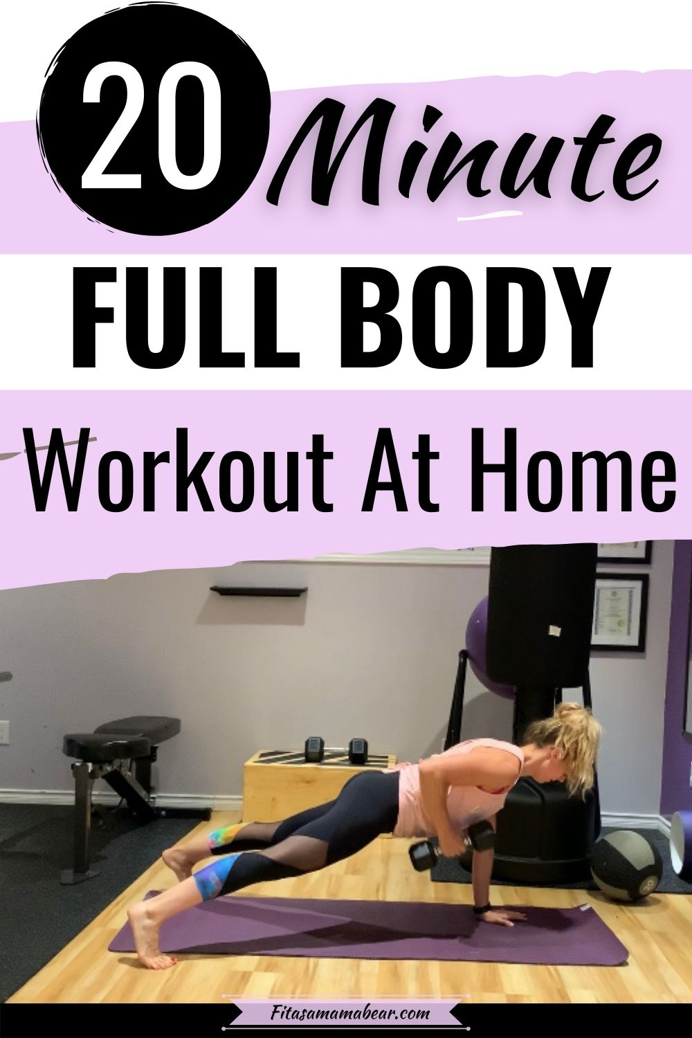 Pinterest image with text: woman in black pants and a peach shirt performing a dumbbell exercise with text about a home workout