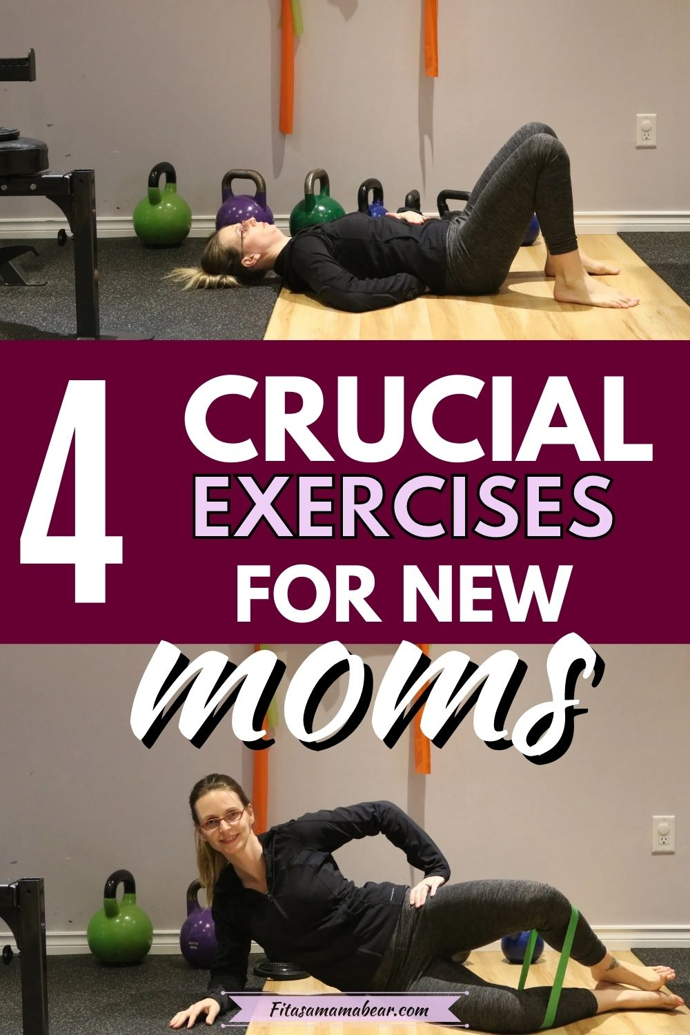 Pinterest image with text: two images of a woman in dark workout clothes performing pelvic floor exercises for postpartum healing
