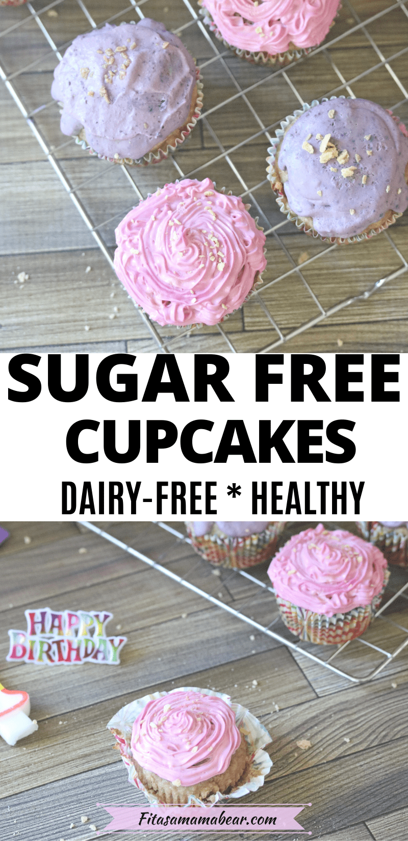 Pinterest image with text: two images of pink and purple dairy-free cupcakes on a cooling rakc