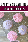 Pinterest image with text: pink and purple sugar-free cupcakes on a cooking rack