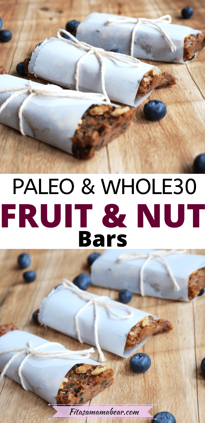 Pinterest image with text: two images ofthree fruit and nut bars wrapped in parchment paper with blueberries around it