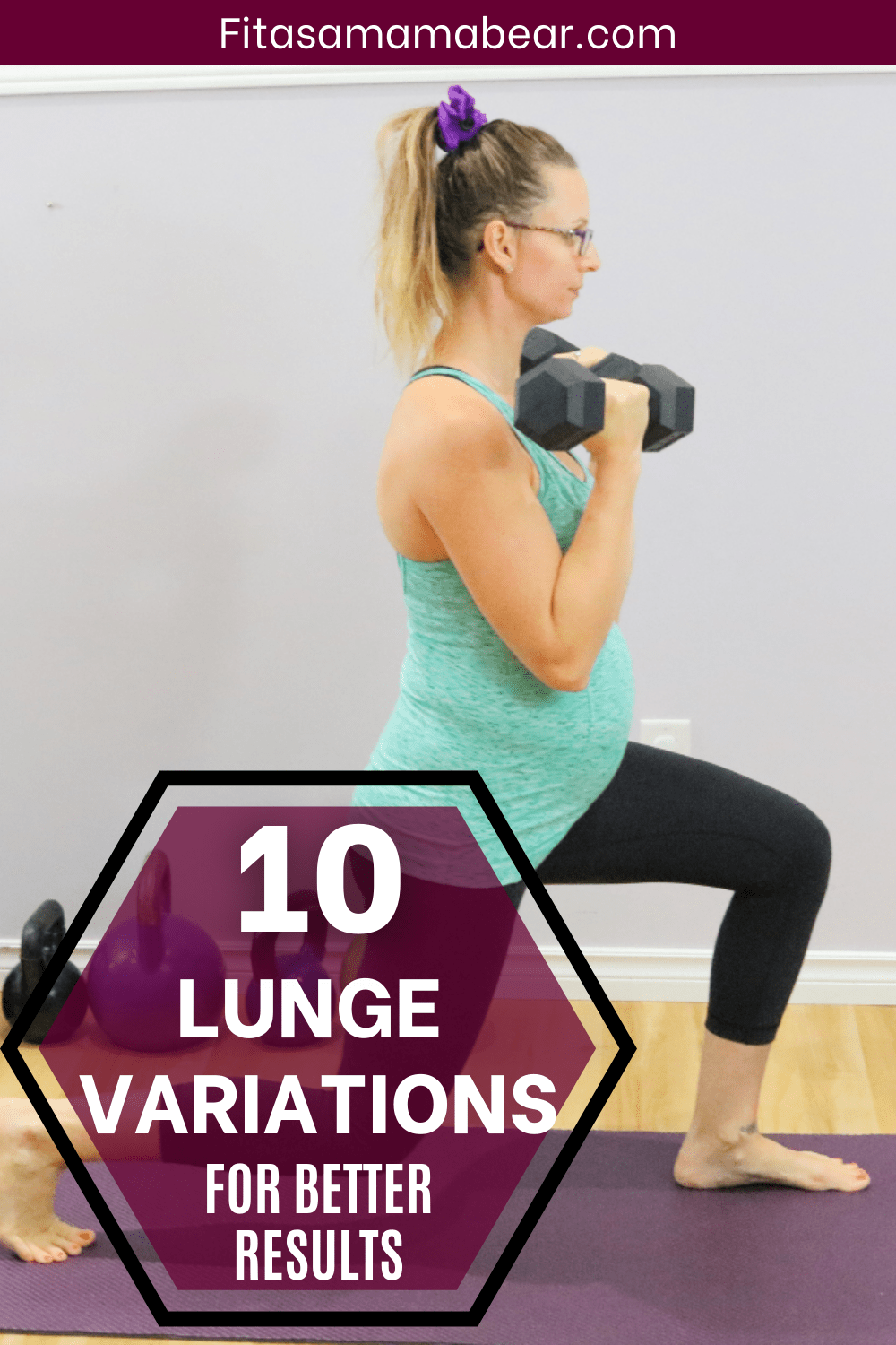 Pinterest image with text: woman in green shirt and black pants performing a lunge with dumbbells on a yoga matt