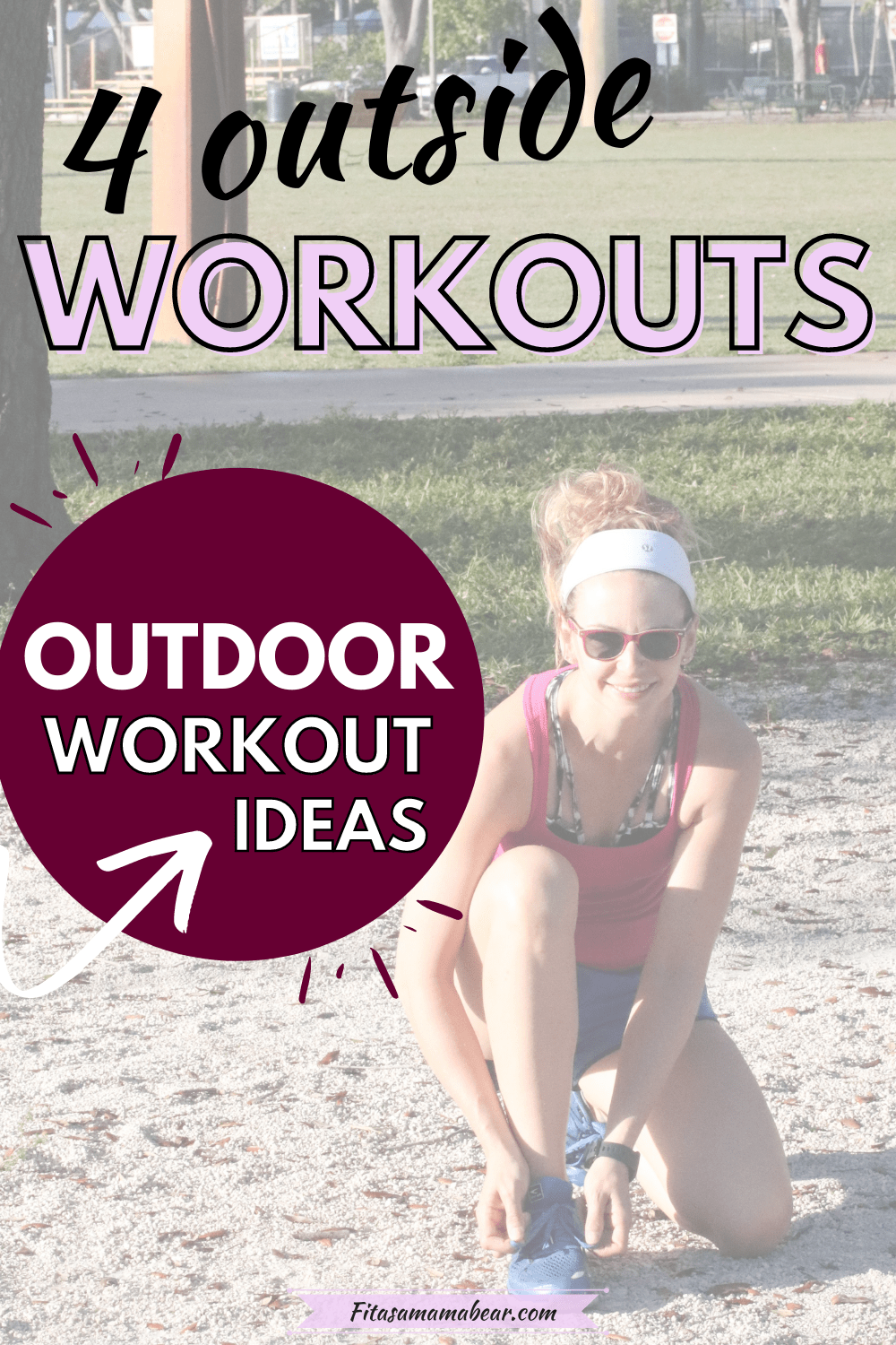 Pinterest image with text: woman in pink shirt and blue shorts kneeling down outside to tie her shoelace