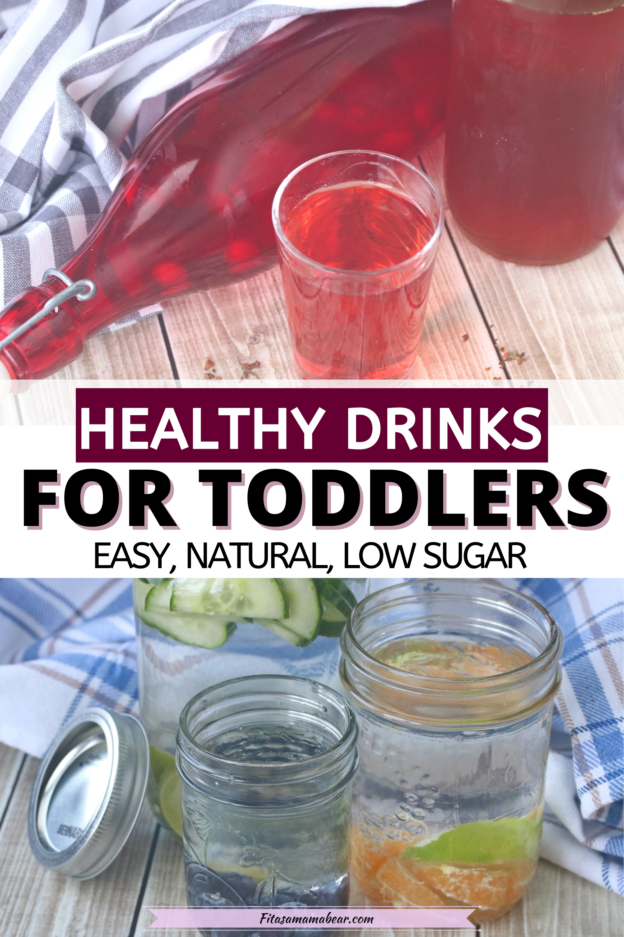 Pinterest image with text: three images of healthy drinks for kids like chilled tea, smoothies and water
