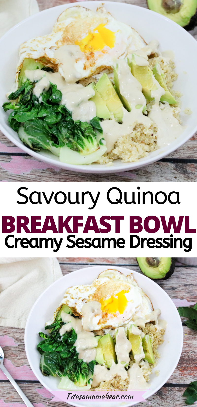 Pinterest image with text: two images of a quinoa breakfast bowl with eggs