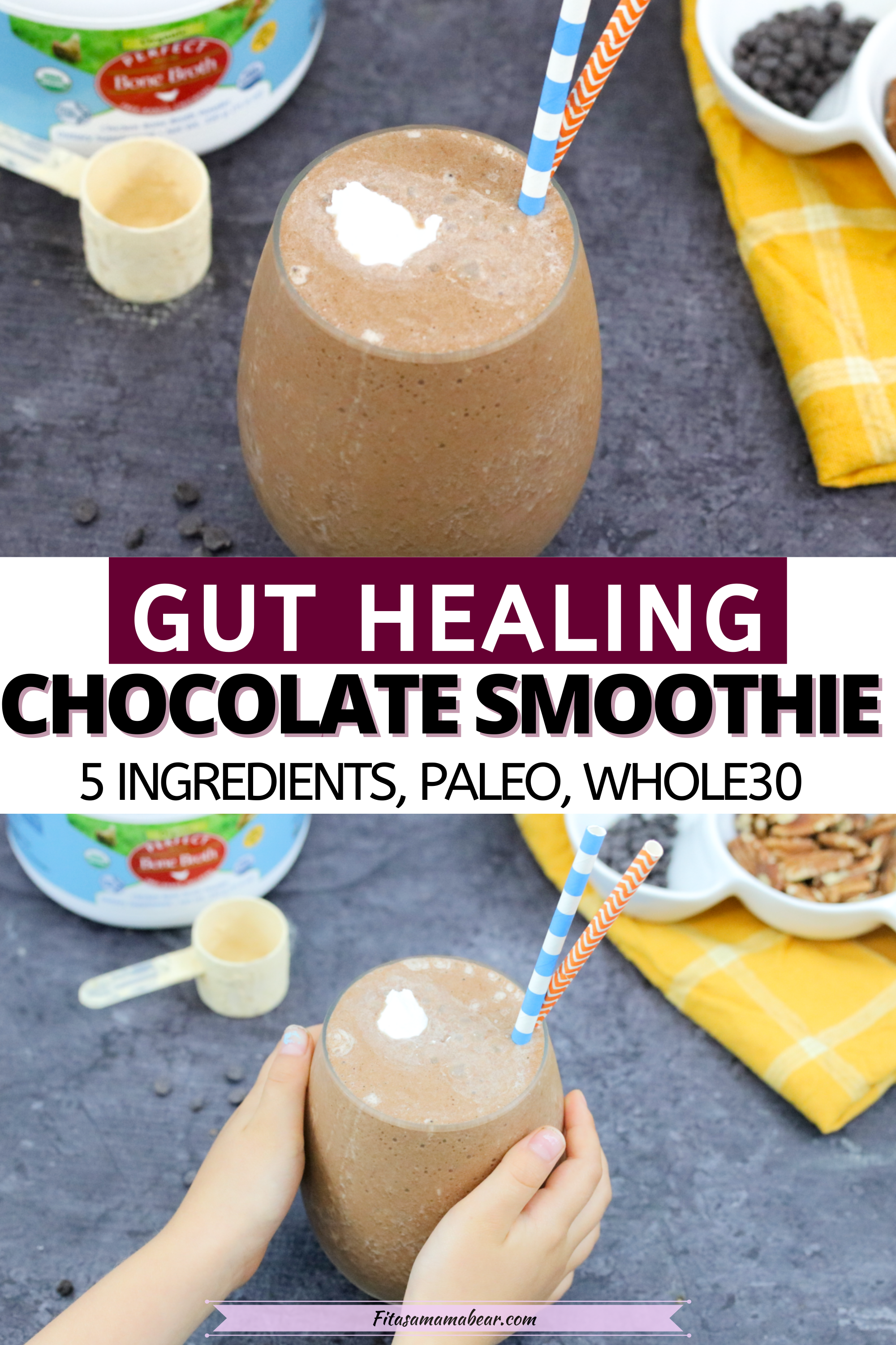 Pinterest image with text: vegan chocolate smoothie in a glass with blue and orange straw
