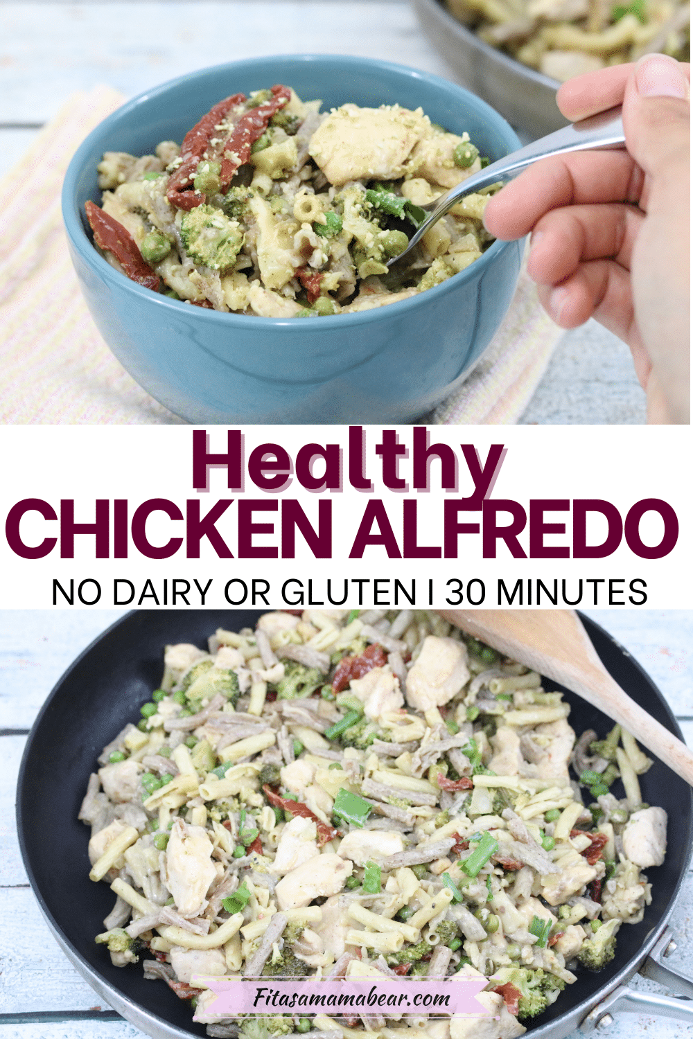 Pin image with text: two images of dairy-free chicken alfredo the top in a blue bowl with a spoon and the boottom in a cast iron pot