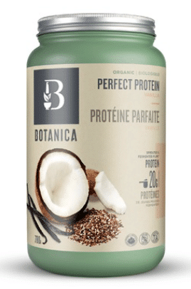 Green protein powder jug with a silver lid and picture of coconuts on it