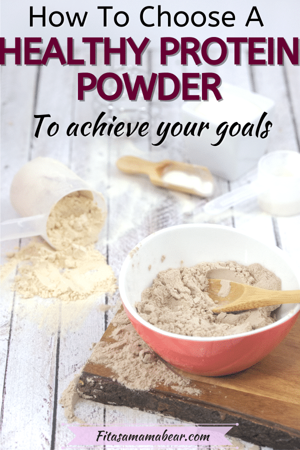Pin image with text: chocolate protein powder in a pink bowl on a cutting board with vegan protein powders on multiple spoons around it