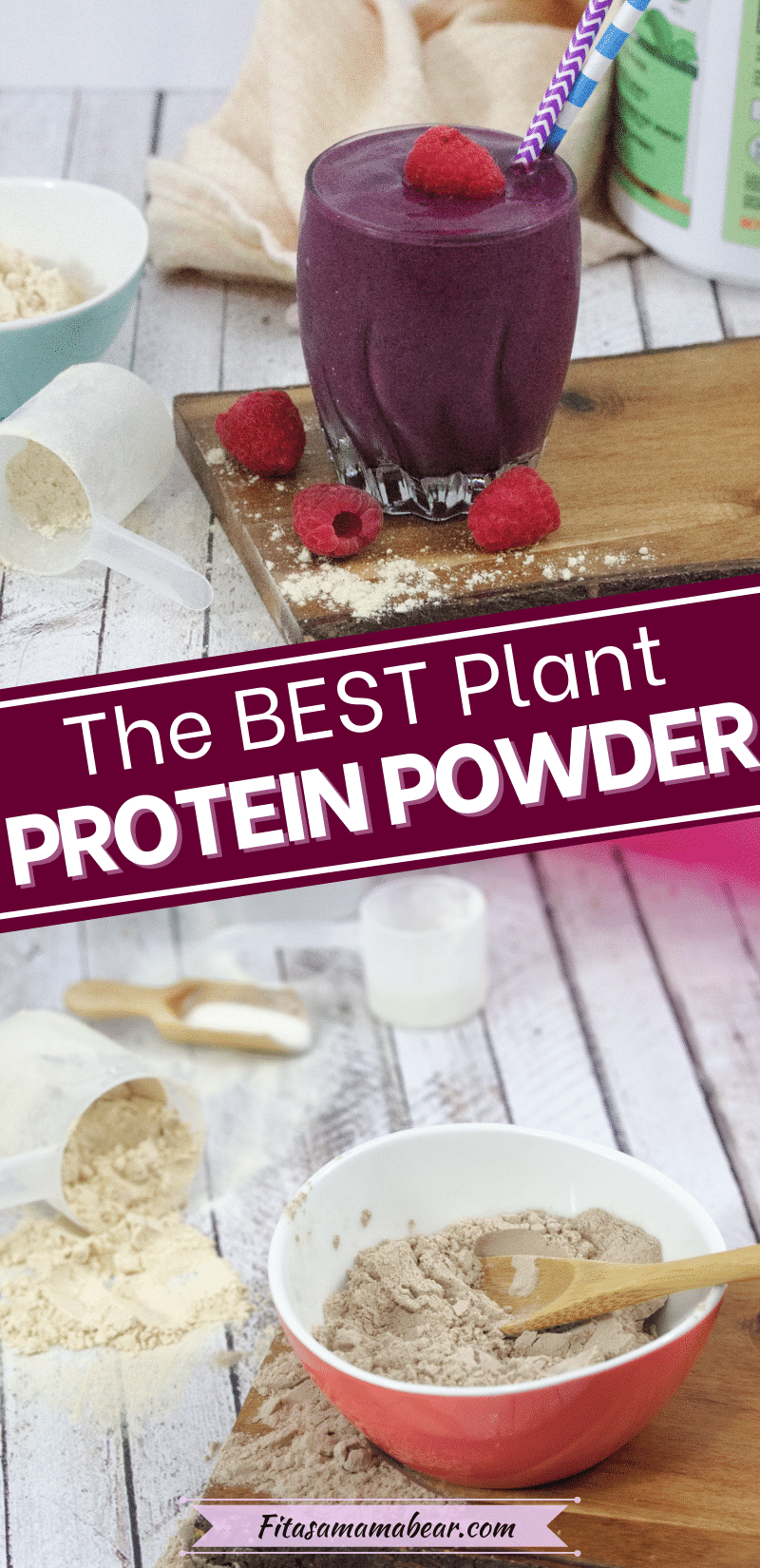 Pin image with text: two images, the bottom of multiple protein powders in bowls and spoons and the top of a purple protein shake with protein powder around it