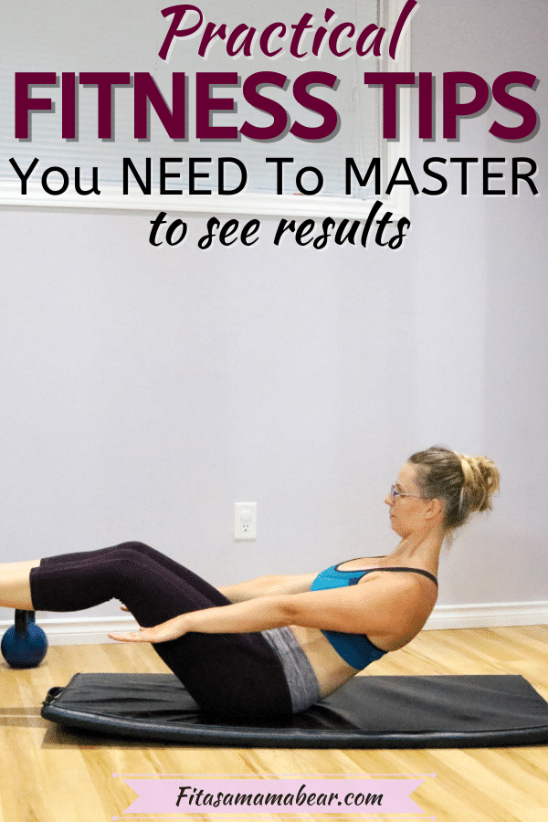 Pin image with text: woman in blue sports bra and dark pants performing an abs exercise on a black mat